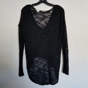Helmut Lang Distressed Open Knit Net Pullover Top